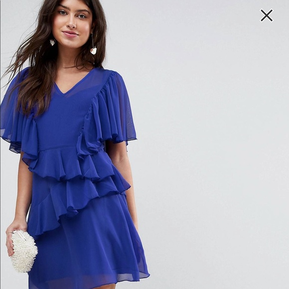 Royal Blue Chiffon Dress with Sleeves